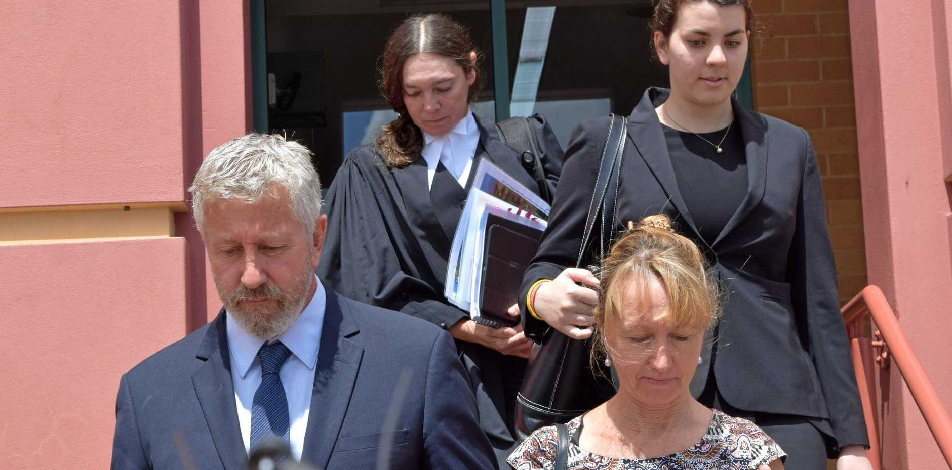 Pilot John Crumpton leaving Lismore court with his wife Leanne after an eight-day District Court trial in February.