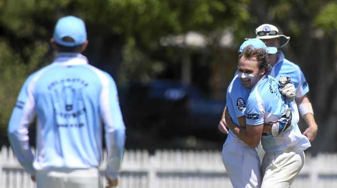 File photo of Ben Carruthers celebrating a wicket with his Ballina Bears teammates. Carruthers has scored 394 runs this season and taken 17 wickets.