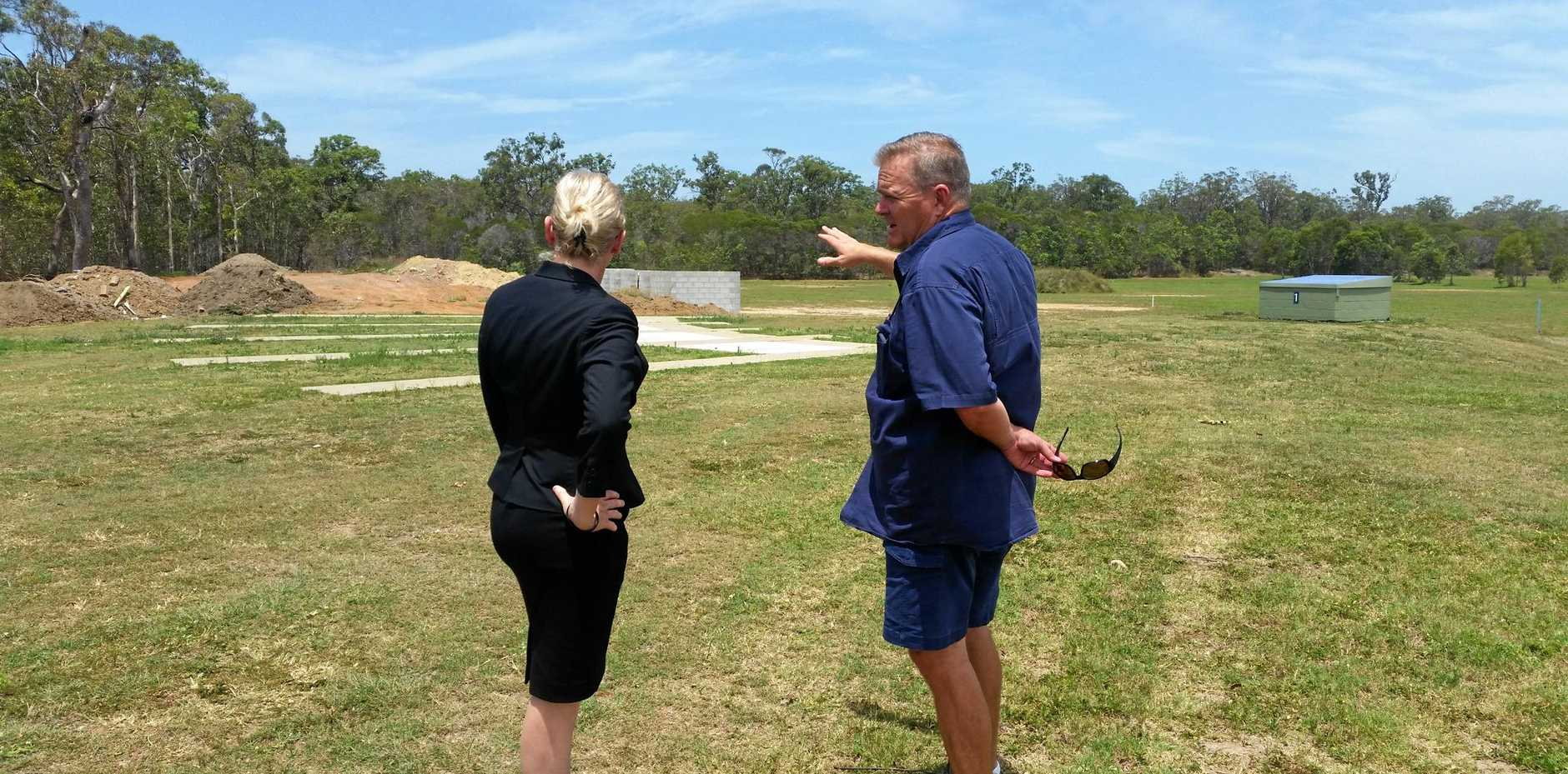 Member for Bundaberg Leanne Donaldson with Bundaberg Clay Target vice president Corey Bylsma after funding was given for new machines for the range.