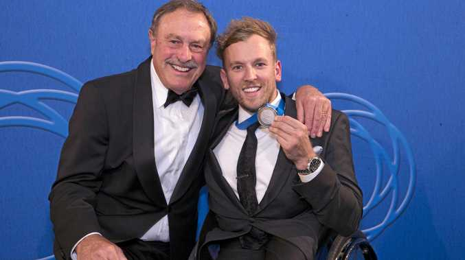 Newcombe Medal winner Dylan Alcott (right) and tennis great John Newcombe.