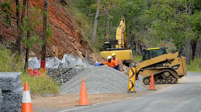 Work continues on repairing the damage caused by Cyclone Marcia to Pilbeam Drive.   Photo: Chris Ison / The Morning Bulletin