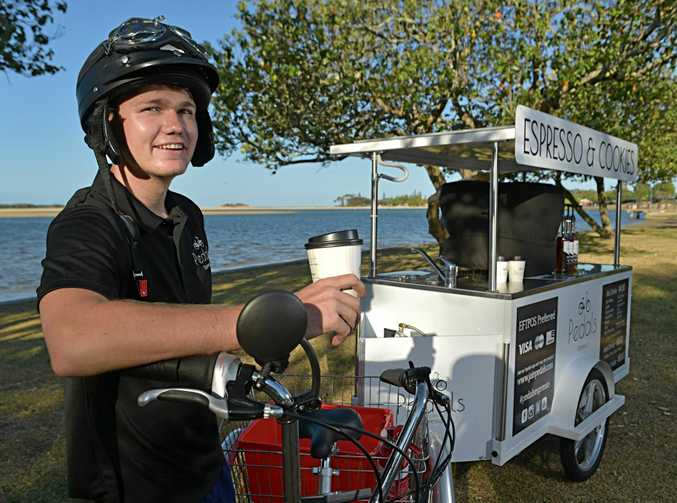 Joey Sutton has started his own coffee cart business. Pedals Espresso can now be seen on the Sunshine Coast.