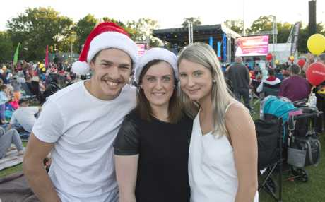 Enjoying the 4GR Mayoral Carols by Candlelight last year are (from left) Sam Thompson, Ashleigh Thompson and Maddie Bielefeld.