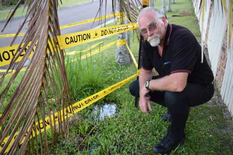 Aroona resident Don Cameron is fed up with a water leak which has rendered a section of the footpath in front of his home unusable.