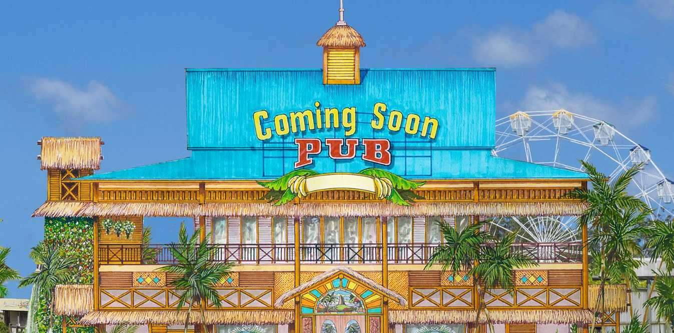 An artist impression of the redeveloped pub at Aussie World.