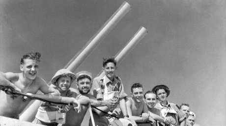 1941-08. Tobruk. Aboard H.M.A.S. NIZAM. Diggers on their way to fight at Tobruk. Australian War Memorial