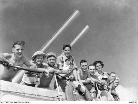 1941-08. Tobruk. Aboard H.M.A.S. NIZAM. Diggers on their way to fight at Tobruk. Australian War Memorial