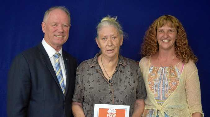 AWARD WINNER: Sylvia Haigh (centre) with Andrew Fraser and Cheryl Nolan.