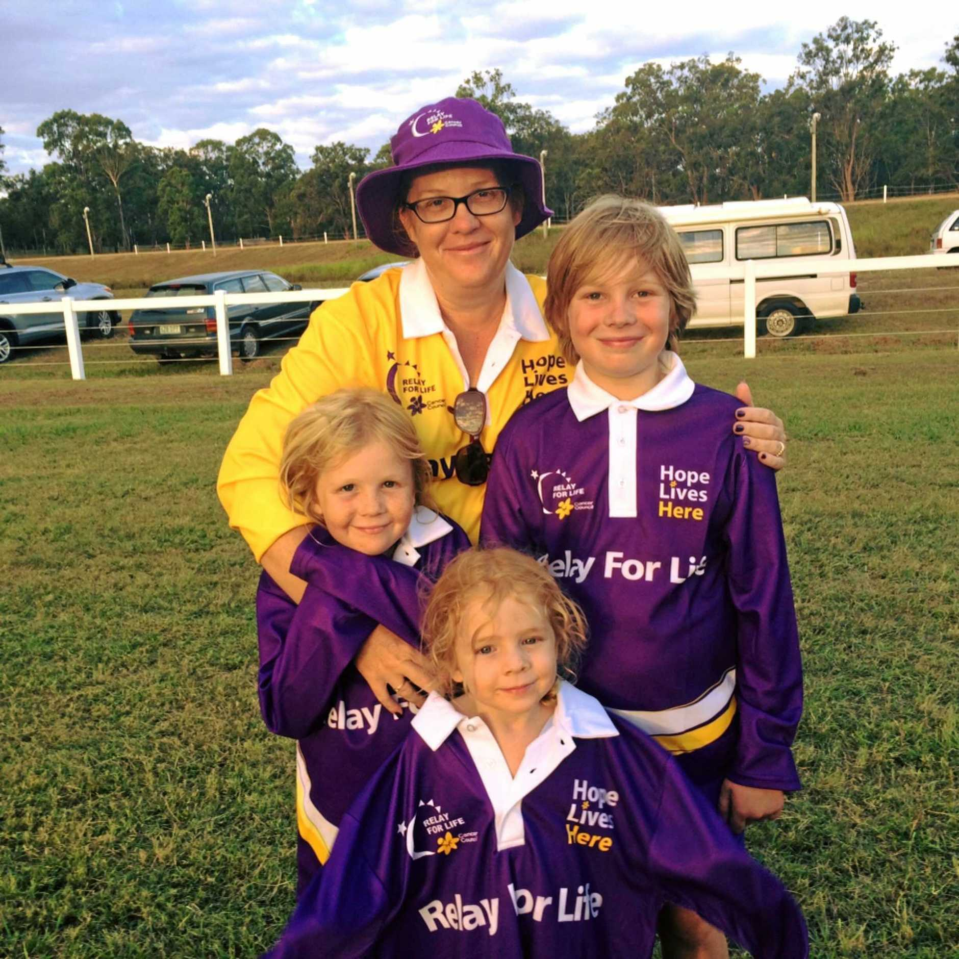 READY TO ROCK: Kaye North and her children Hayden, 10, Emily, 8 and April, 6 are ready to take part in Maryborough's Relay for Life.