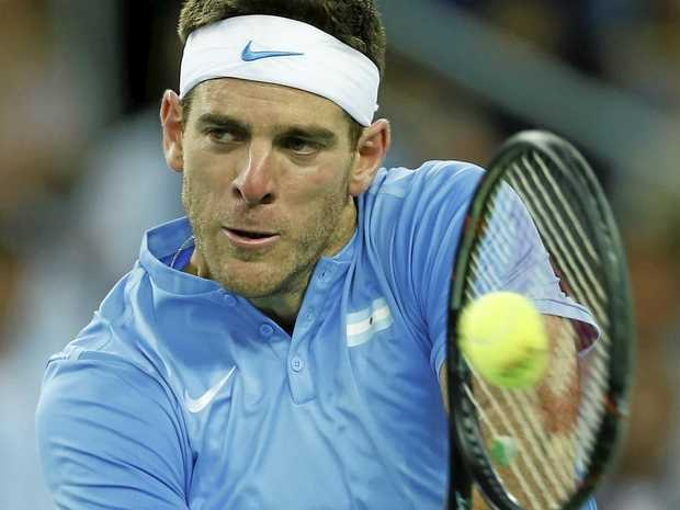 Argentina's Juan Martin del Potro returns to Croatia's Marin Cilic during their Davis Cup finals tennis singles match in Zagreb.