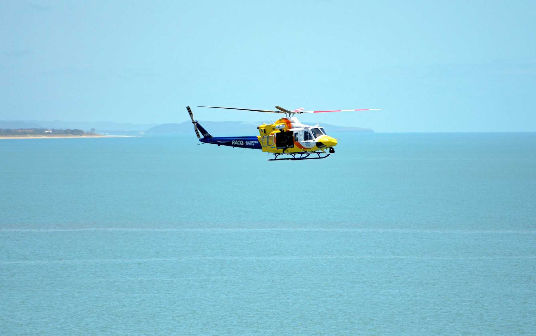 RACQ Capricorn Rescue helicopter conducting training with the Volunteer Coastguard off Wreck Point in Keppel Bay.