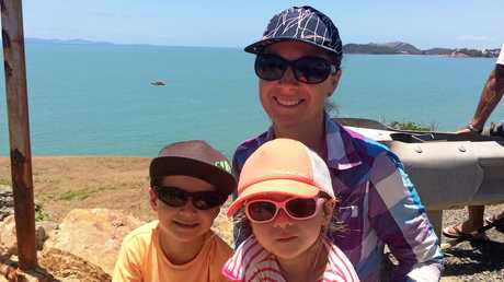 Colleen Hooker with her children Dustin and Indiana watching the Yeppoon Coast Guard and RACQ Capricorn Rescue helicopter conduct a training exercise at Wreck Point.Photo Amber Hooker / The Morning Bulletin
