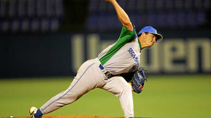 FAMILY LEGACY:Matt Gahan pitching in the professional leagues in Japan.