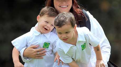 Marc Leishman's wife Audrey and their sons Oliver and Harvey at the traditional par three contest before the 2016 US Masters at Augusta.