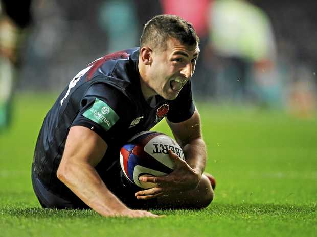 England's Jonny May after scoring a try against Argentina at Twickenham.
