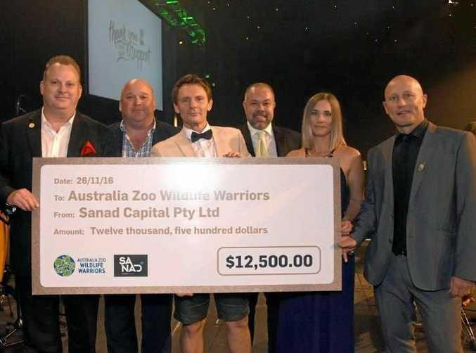 Sanad Capital, the developers behind the water park set to be Australia Zoo's new neighbour, makes a donation to the Wildlife Warriors at the Steve Irwin Gala Dinner.