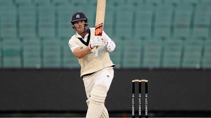 Aaron Finch bats for Victoria in the Sheffield Shield match against Tasmania at the MCG.