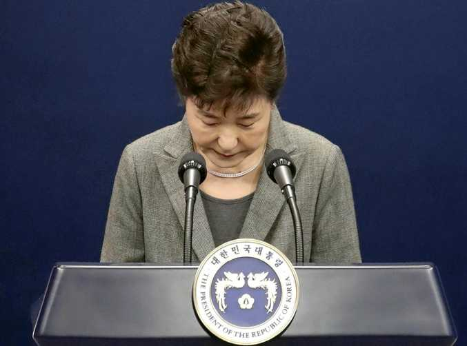 South Korean President Park Geun-hye bows after addressing the nation over a political scandal involving her and her long-time friend Choi Soon-sil.