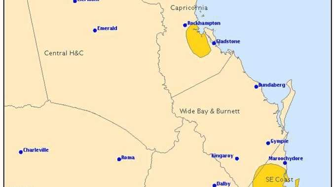 A severe thunderstorm warning has been issued for areas in Central and Southeast Queensland.
