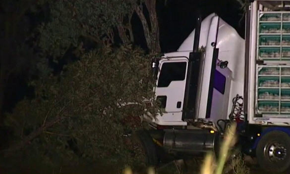 Preliminary investigations indicate the truck and sedan collided on the highway approximately 3km south of Warrill View.