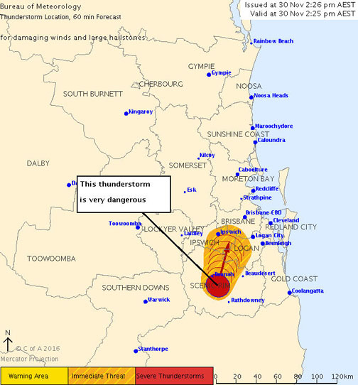 The Bureau of Meteorology warns that, at 2:25 pm, very dangerous thunderstorms were detected on the weather radar near Boonah and Kooralbyn.