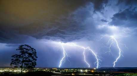 Chris Rollie's photo of the storm. Photo taken from Mt Tabor overlooking Warwick.