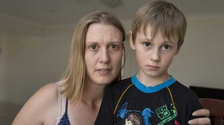 Former Oakey resident Kathryn Cherry is fearful for the future health of her children, including son Elliott Cherry, 9, after blood tests reveal she has PFOS and PFOA chemicals in her system, Wednesday.