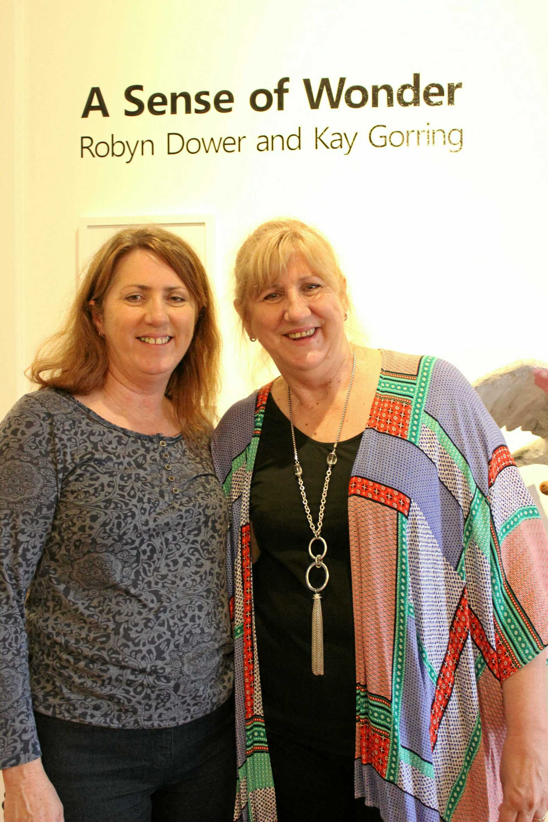 SISTER ACT: Artist Robyn Dower (left) and her sister, writer and poet Kay Gorring at the opening of their exhibition, A Sense of Wonder.
