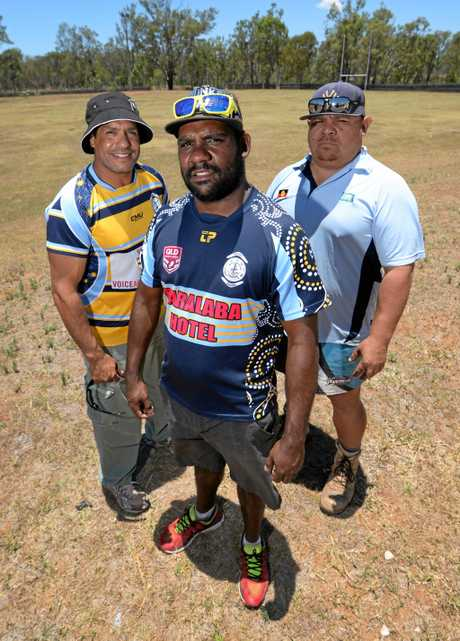 L-R Woorabinda Warriors A grade coach Reggie Cressbrook, club president Joel Cameron and Reserve grade coach Anthony Munns are looking forward to the 2017 Rugby League season that will see them field teams in all three grades.