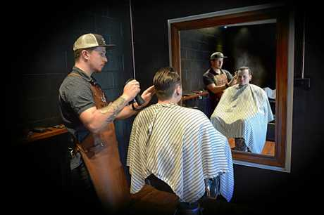 Nick cuts the hair of Jye Cusack at Stallion Barbers in Maroochydore.
