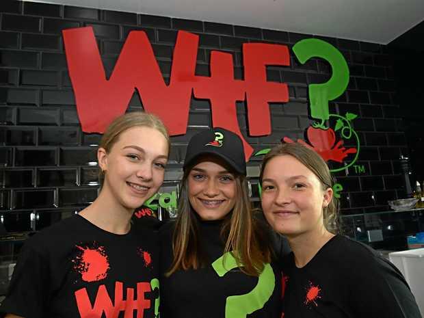 New Pizza shop opening in Noosa.Francesca Sanders, Sarah Hughes and Brooke Mayhew.