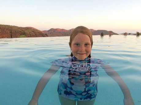 Kyla Sundstrom swims in a swimming pool at Lake Argyle, Western Australia.