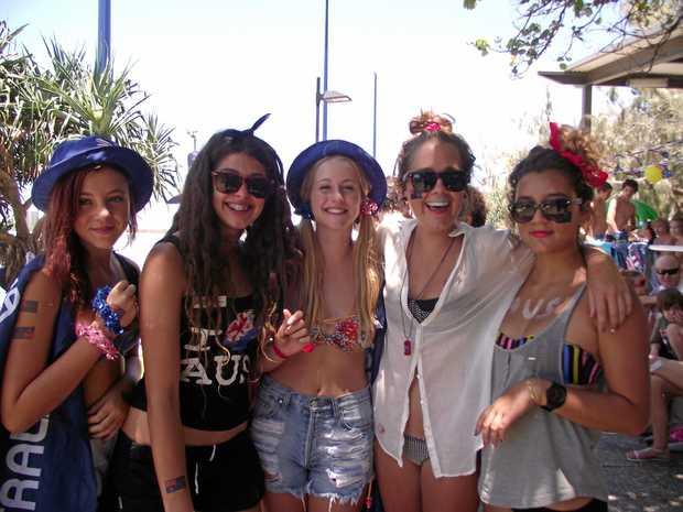 Teenage friends Hannah Busuttil, Monique Cash, Olivia Bold, Isabelle Power and Pinia Onekawa having fun at Mooloolaba on Australia Day.  Photo Carly Rees / Sunshine Coast Daily