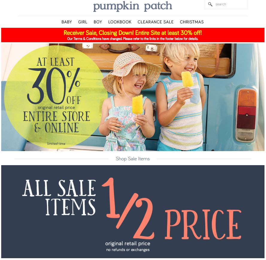 Pumpkin Patch is massively discounting its products as the company prepares to shut down.