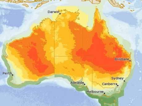 An image of Australia's maximum temperatures on Saturday, as the heatwave strikes much of southern Queensland and northern NSW.