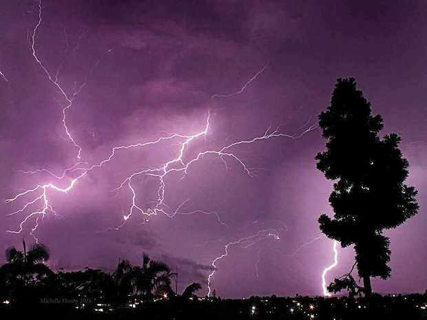 Lightning danced across the sky in Gympie as Michelle Honey snapped this photo.
