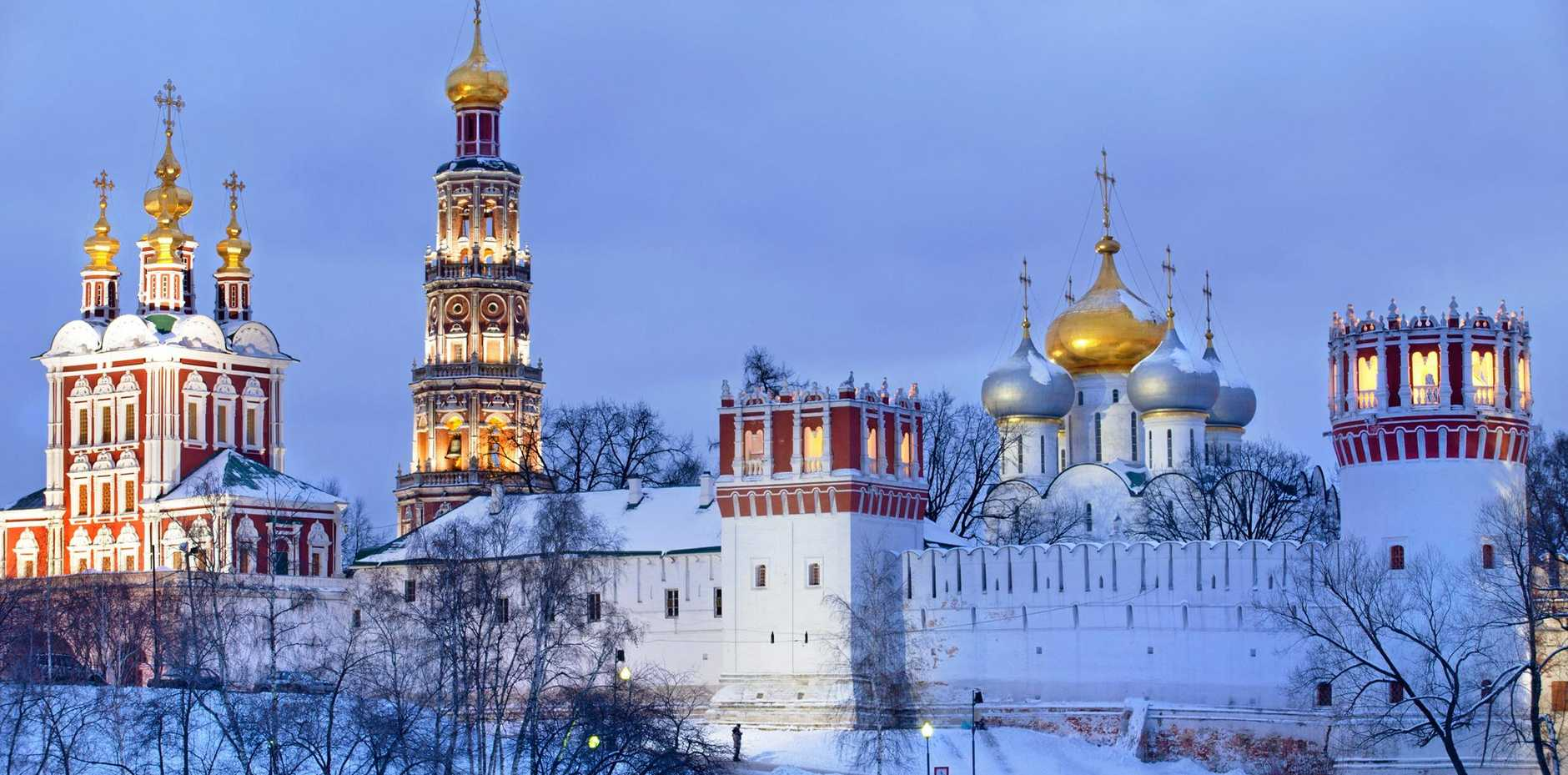 A winter view of Novodevichy convent in Moscow, Russia