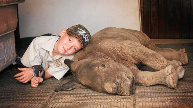 BIG EFFORT: Hunter Mitchell with the baby rhino Osita which he helped hand-rear in South Africa.