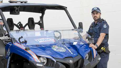 READY TO RIDE: Constable Nick McGauley takes the new Viking ATV out for its maiden run as part of a multi-agency operation in Toowoomba.