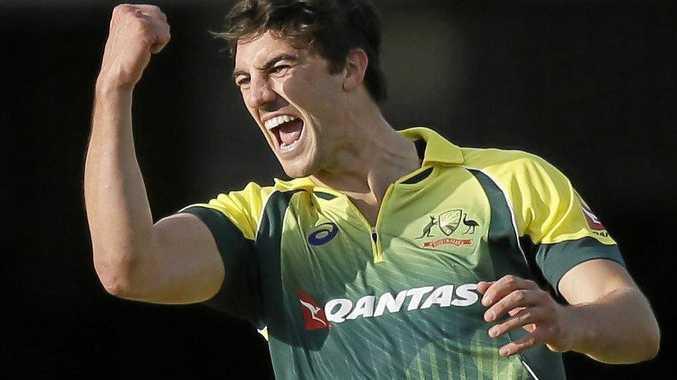 Australia's Pat Cummins celebrates a wicket in 2015.