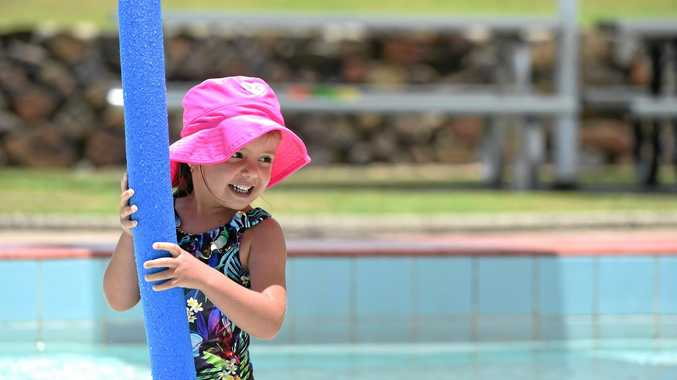 COOLING DOWN: Amali Brown, 4, of Ballina cools off in the Ballina Swimming Pool & Water Slide.