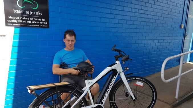 Michael Sharpe from Bennett Page Cycles tries out an e-bike.
