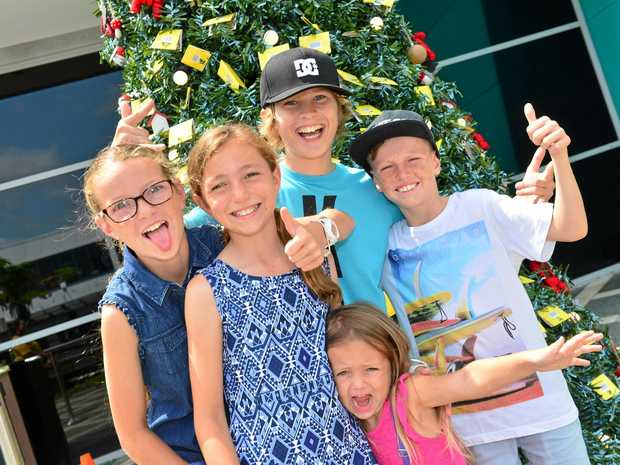 Aryan Ramos with Kiara, Rylan, Alira Hillier and Evie Surtees at Sunshine Plaza  for the Ikea gift tree voucher give away.