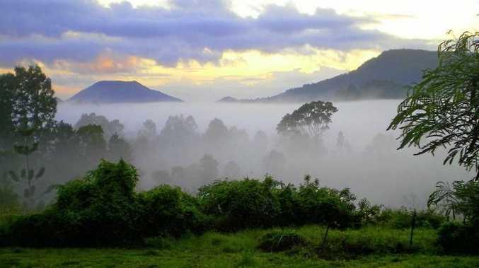 Mist rolls in over Bellbunya near Eumundi.
