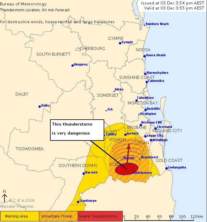 BOM's weather map as of 3.55pm showing the storm heading for SEQ.