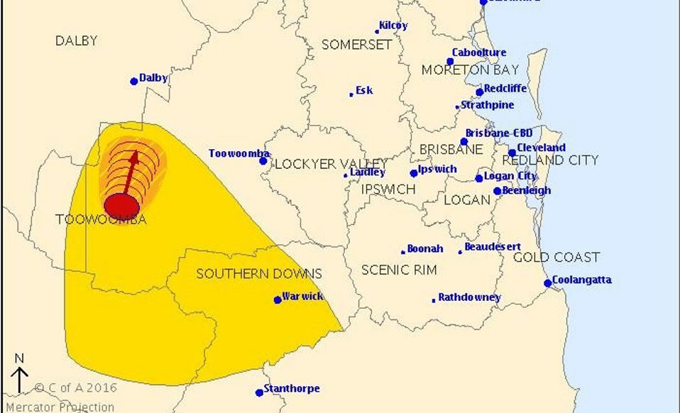 The Bureau of Meteorology has issued a severe thunderstorm warning for the Darling Downs.