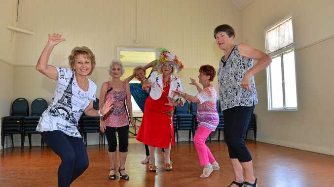Denise Hall, Colleen Muller, Ngaire McGrath, Caz Berry, Joey Warner and Fay Harrison love their dancercise with comedy character 'Ruby'.
