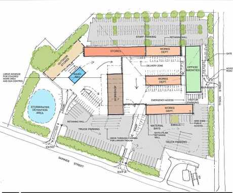 The layout of the proposed Clarence Valley Council depot on the corner of Skinner and Tyson sts, South Grafton.