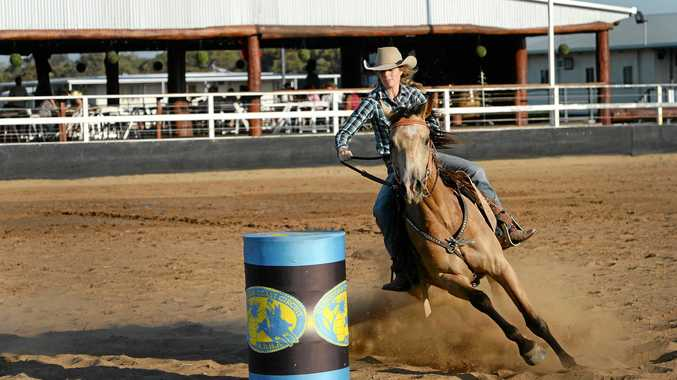 WINNING COMBINATION: Ella Prow on Gecko recorded the fastest time of the day at the barrel racing at Lazy Acres on Saturday.