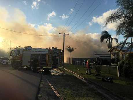 BLAZE: The Brand St house on fire on Saturday, December 3, 2016. Photo courtesy 7 News Wide Bay.